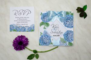 hortensjowe ślubne zaproszenie