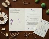 zaproszenie na ślub w kolorze lawendy