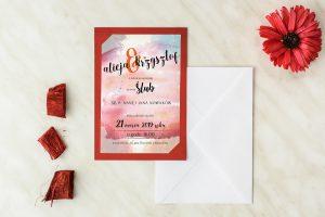 ślubne zaproszenia w kolorze bordo